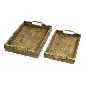 Vintage Style Wooden Trays, Brown, Set Of 2