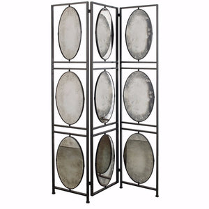 Art Inspired Aviva 3-Panel Screen Antiqued Mirrors