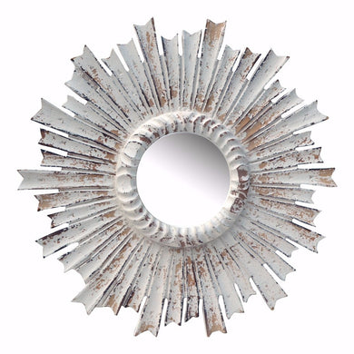 Modern Radiate Distressed Flare Mirror- White