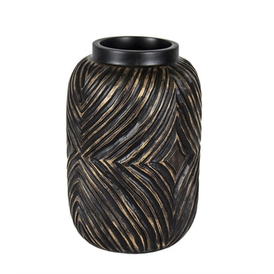 Eye-Catching Decorative Resin Vase, Brown & Gold