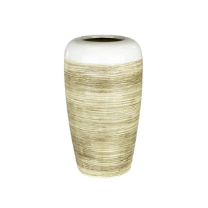Charismatic Ceramic Rope Vase, White & Beige