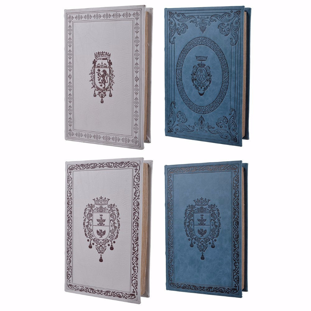 Elegant Turin Book Boxes-set of 4, Blue and Gray