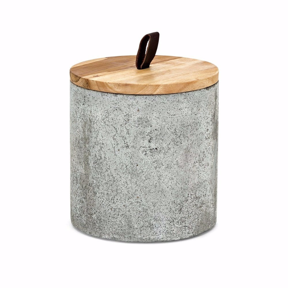 Becker Tall Lidded Box With Wooden Lid, Brown and Gray