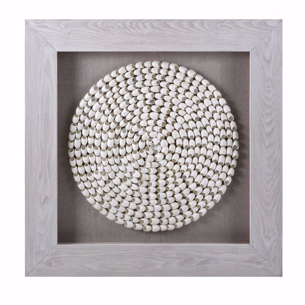 Innovative Cocoon Art in Shadowbox, Gray and White