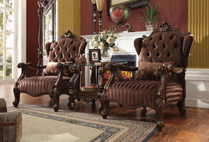 Versailles Chair with Pillow, Brown Velvet & Cherry Oak
