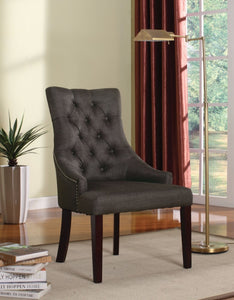 Drogo Side Chair (Set-2), Gray Fabric & Walnut