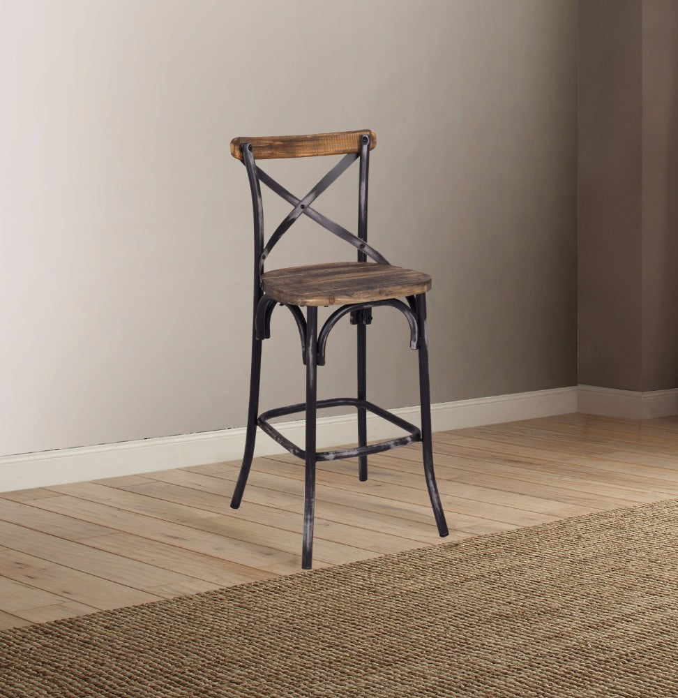 Zaire Bar Chair, Walnut & Antique Black