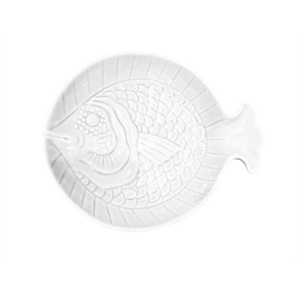 Fish Design Instilled Ceramic Fish White Plate
