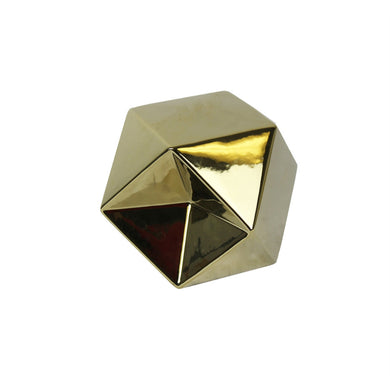 Decorative Ceramic Geometric Object, Gold, Small