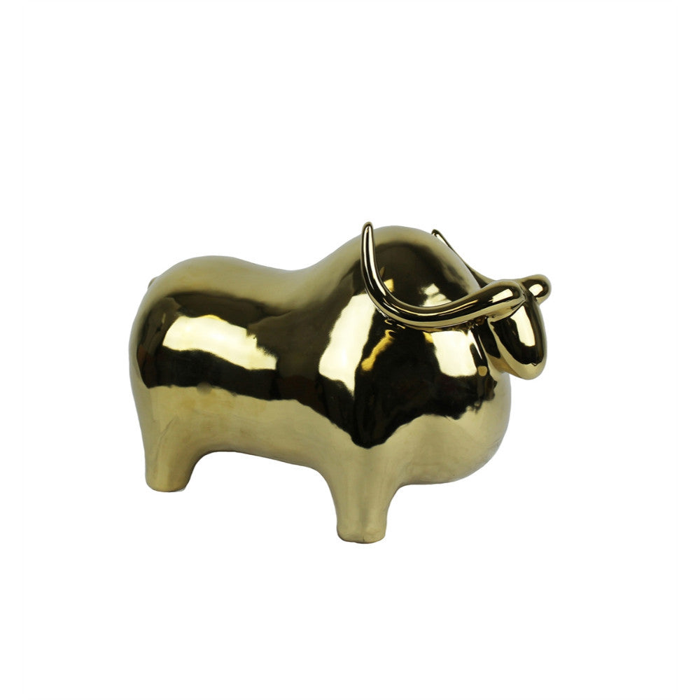 Artistic Ceramic Decor Bull In Shinny Golden Finish