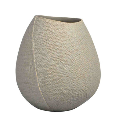 Roughly Textured Ceramic Bulb Vase, Cream