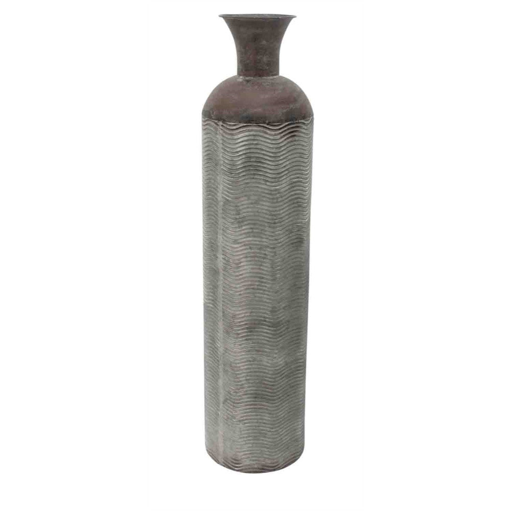 Rustic Metal Cylindrical Bottle Vase, Weathered Gray/Bronze-Large