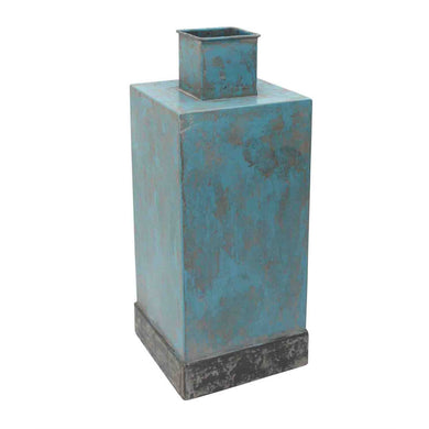 Metal Square Vase With Border Band, Blue, Tall