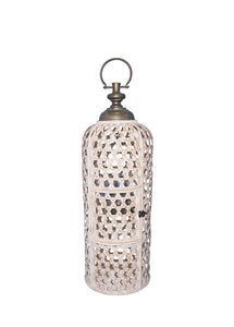 Beautifully Cultured Bamboo Candle Lantern, White