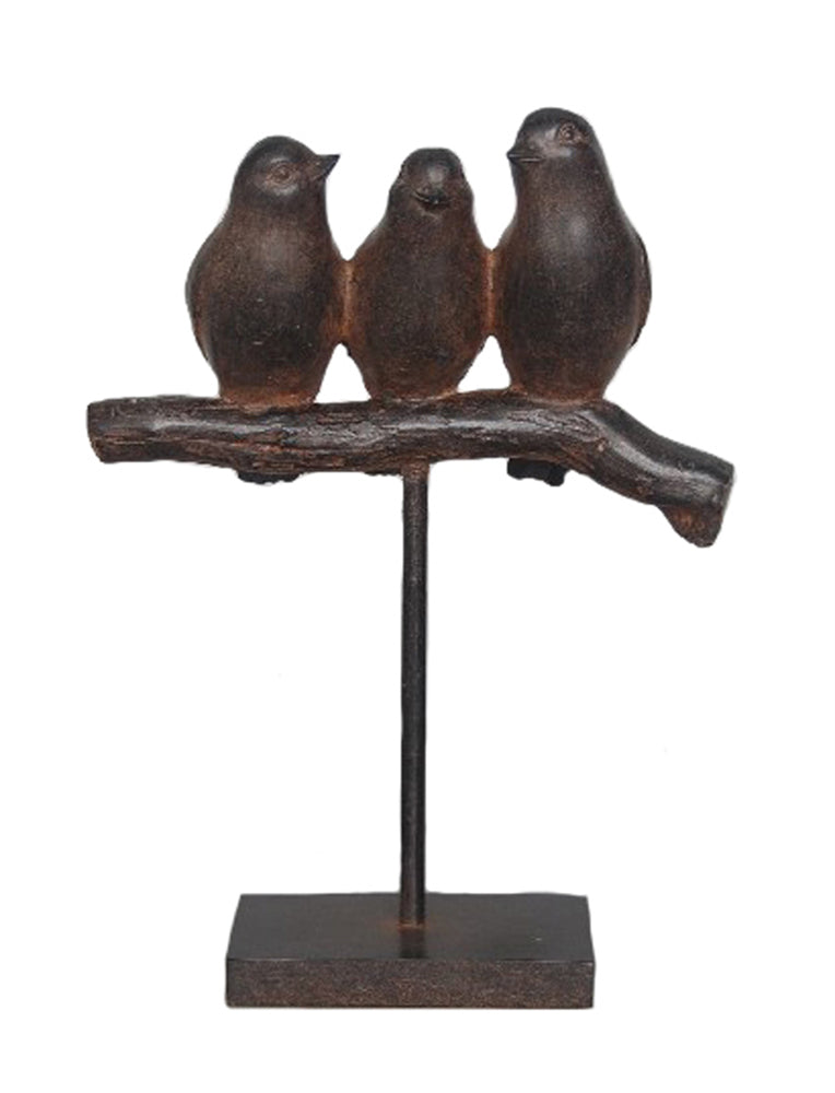 Nature-Inspired Decorative Resin Birds On Stand Decor, Brown
