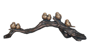 Decorative Resin Birds On Branch Decor, Bronze And Gold
