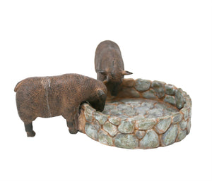 Resin Round Flower Pot With Sheep, Gray And Brown