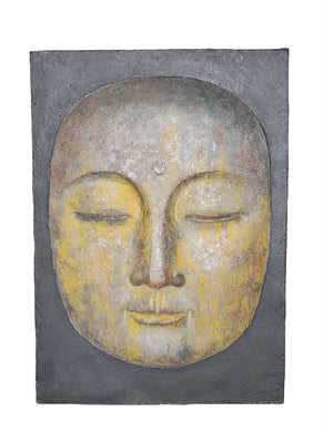 Decorative Resin Buddha Face Wall Decor, Gray And Yellow
