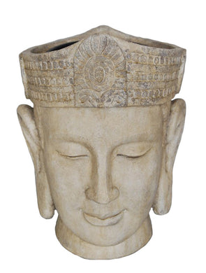 Positive Vibe Decorative Resin Buddha Head Flower Pot, White