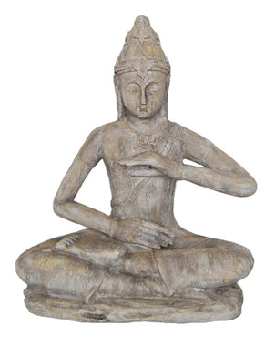 Peacefully Adorning Decorative Resin Sitting Buddha, Gray