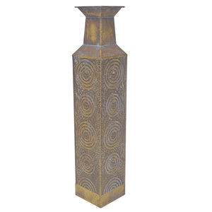 Morrocan Pierced Iron Vase, Medium, Brown