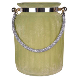Tall Frosted Vase With Sparkling Handle, Green