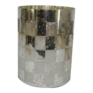 Tall Geometric Patterned Glass Vase, Gold