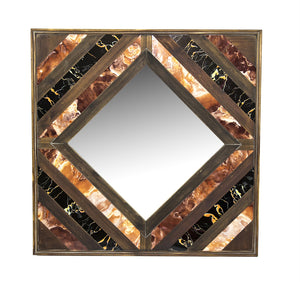 Wooden Square Shaped Wall Mirror With Inlay, Multicolor