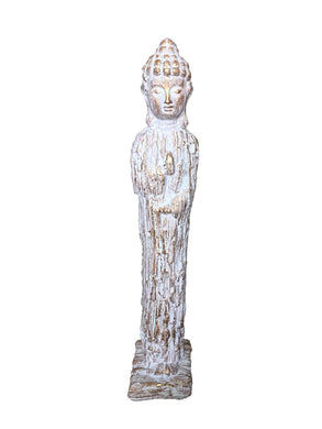 Standing Buddha Figurine, White And Gold