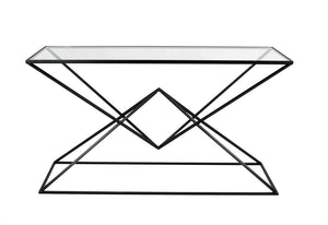 Stylish  Metal Cocktail Table With Glass Top, Black