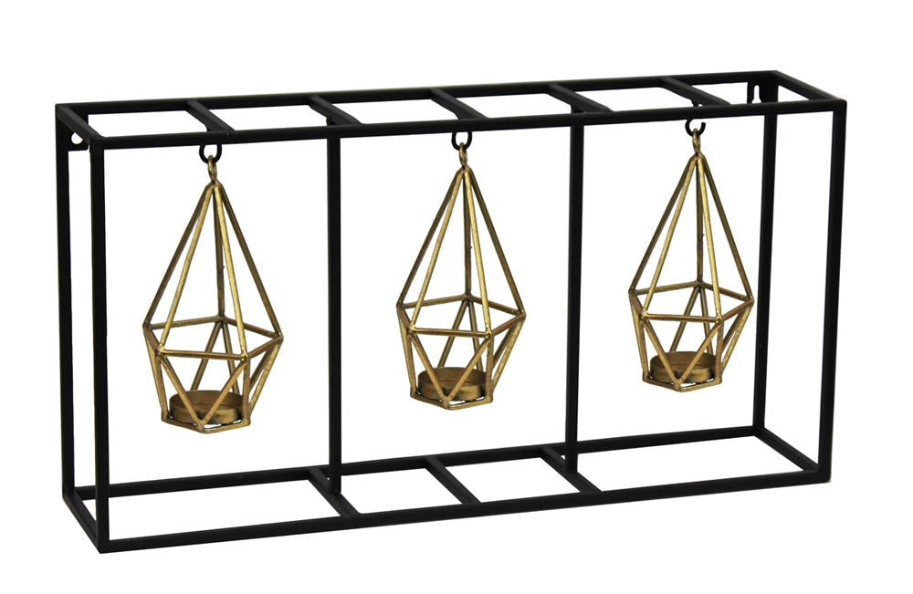 Embellishing Metal Wall Tealight Candle Holder, Gold And Black