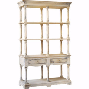 Vintage Style French Country Bookcase, White