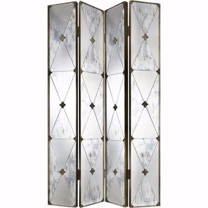 Traditional Style 4-Panel Mirrored Screen, Clear and Gold