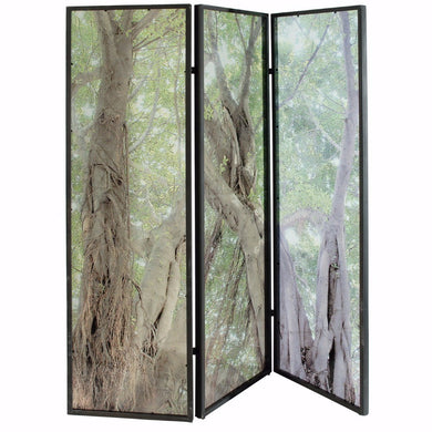 Nature Inspired 3-Panel Mirrored Screen, Multicolor