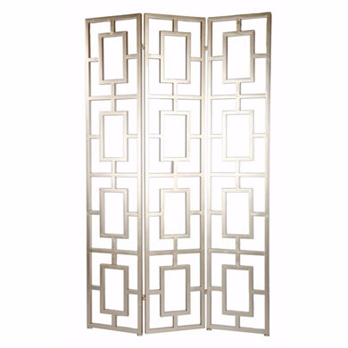 Trellis Style Lustrous 3-Panel Screen, Gold