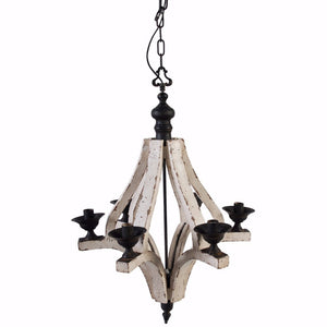 Solid 6-Light Washed-Wood Chandelier, White and Black