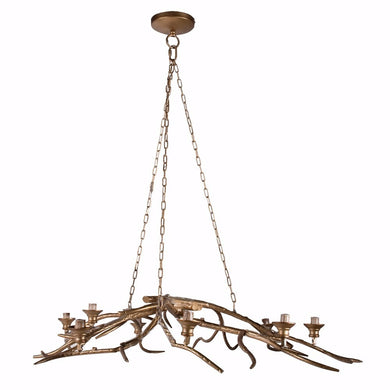 Tree Branch Style 8- Light Chandelier, Gold
