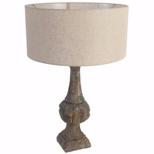 Quaint Table Lamp With Pedestal Body, Brown