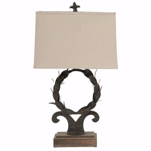 Rustically Charmed Round Shade Table Lamp, Brown and White