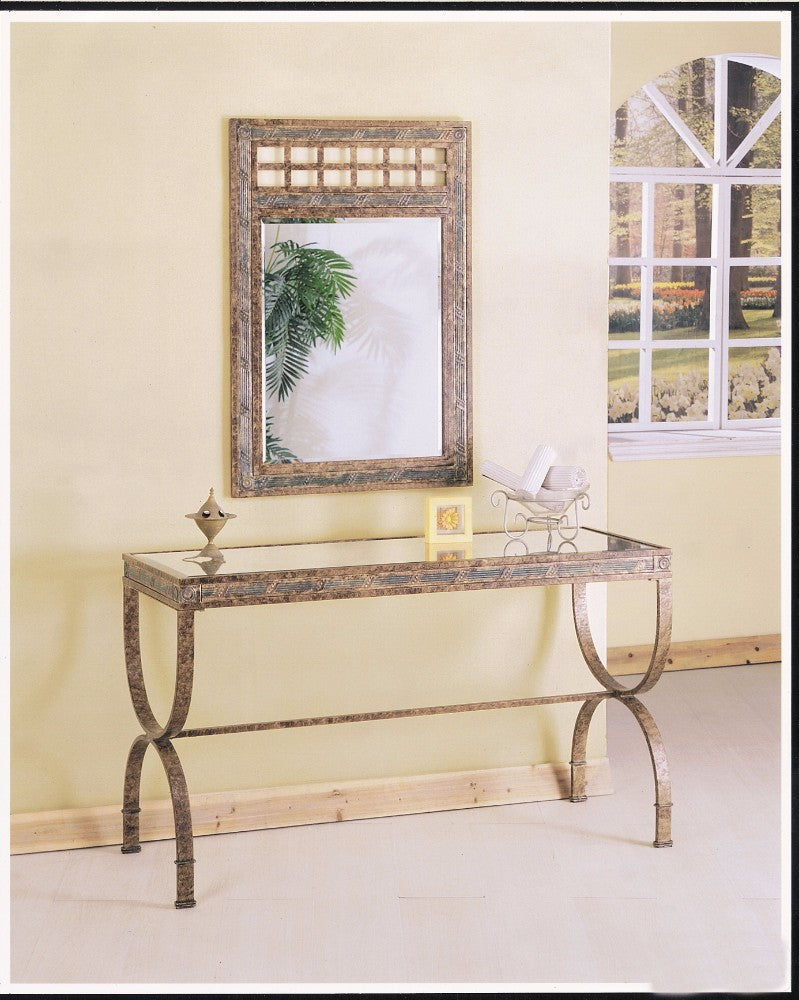 Egyptian Console Table In Bronze Finish With Clear Glass Top