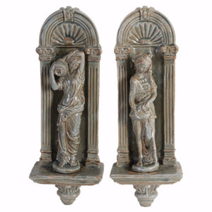 Grecian Appeal Ceramic Wall decors, Set of 2, Gray