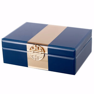 Dapper Opulent Glass Jewelry Box , Blue