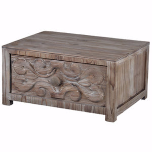 Traditional Fir Wood Thayne Tabletop Drawer, Brown
