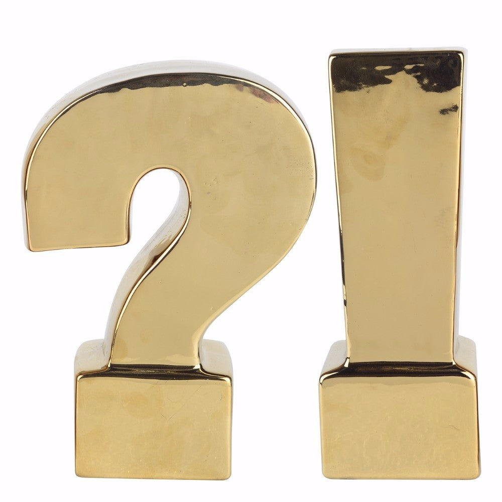 Ceramic Question & Exclamation Mark Bookends, Gold, Set of 2