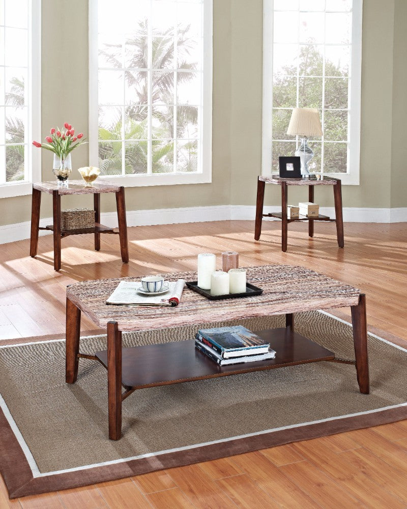 Coffee & End Table Set, Faux Marble - Pack of 3 Pieces