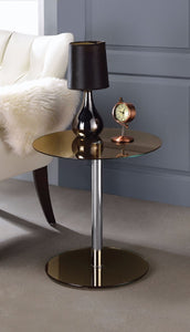 End Table, Smoky Glass & Chrome