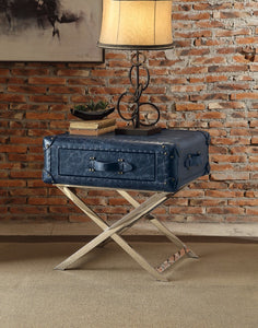 End Table, Vintage Blue Top Grain Leather