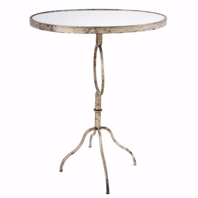 Oval Shaped Distressed Metal End Table, Silver