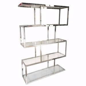 Metal And Glass Etagere, Silver and Clear