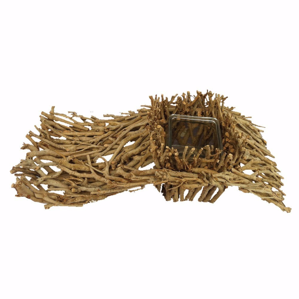 Branch-Wood Candle Holder, Brown